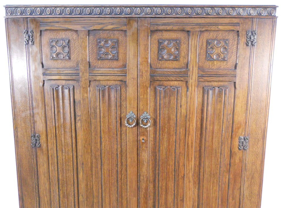 Wardrobe Large Antique Style Carved Oak Two Door Panelled